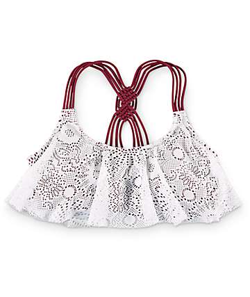 Trillium Burgundy & Cream Crochet Flounce Bikini Top