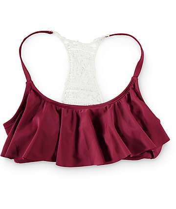 Trillium Burgundy Crochet Flounce Bathing Suit Top