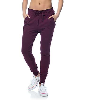 Trillium Burgundy Knit Ribbed Insert Joggers