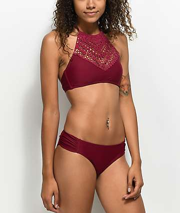 Trillium Burgundy Ruched Cheeky Bikini Bottom