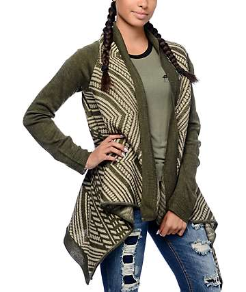 Trillium Carly Waterfall Green Aztec Cardigan