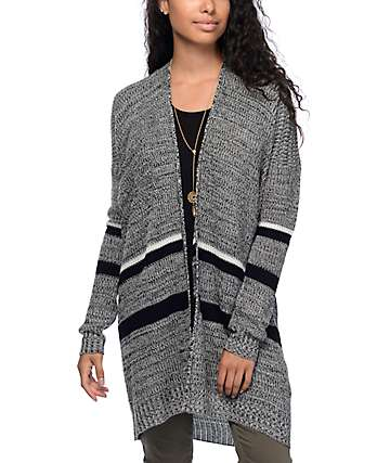 Trillium Carmen Grey & Black Stripe Cardigan