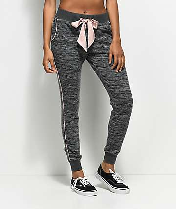 Trillium Charcoal & Pink Piping Joggers