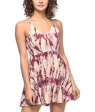 Trillium Cleo Burgundy Tie Dye Dress