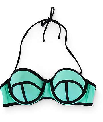 Trillium Colorblock Mint Molded Bandeau Bikini Top