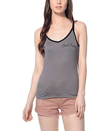 Trillium Cool Kids Grey & Black Ringer Tank Top