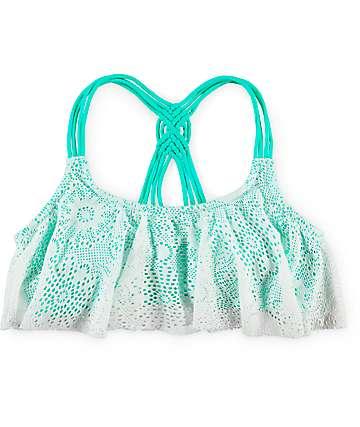 Trillium Crochet Flounce Mint & Cream Bikini Top