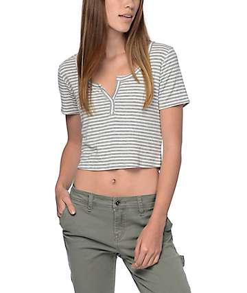 Trillium Cropped Grey Striped Ribbed T-Shirt