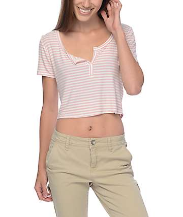 Trillium Cropped Pink Striped Ribbed T-Shirt