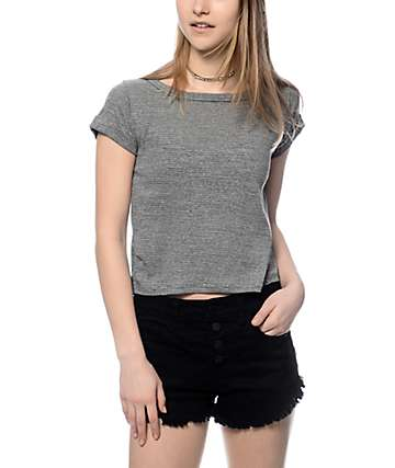 Trillium Dani V-Back Cutout Grey Crop T-Shirt