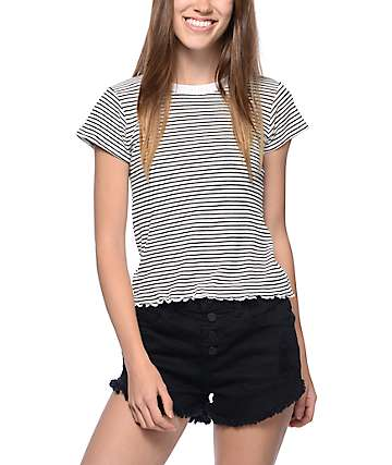 Trillium Dina Lettuce Edge Black & White Stripe T-Shirt