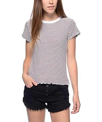 Trillium Dina Lettuce Edge Burgundy Stripe T-Shirt