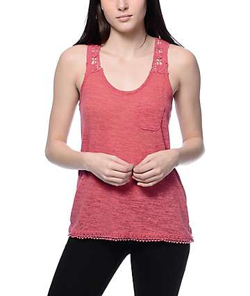 Trillium Fallon Chili Crochet Back Tank Top