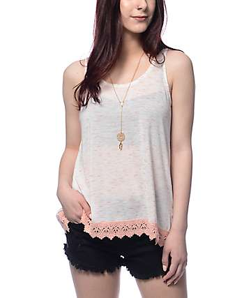 Trillium Faxon Peach Crochet Trim Tank Top