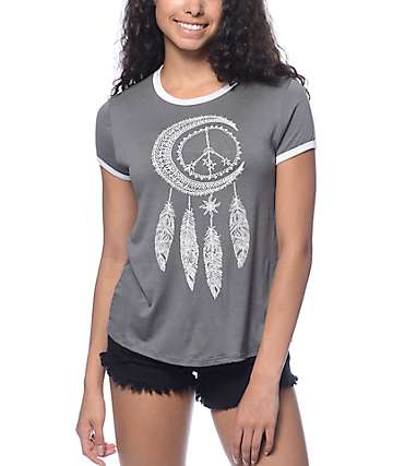 Trillium Felix Dream Catcher Grey Ringer T-Shirt