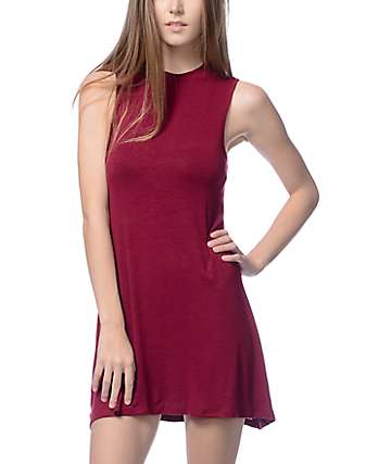 Trillium Flint Burgundy Mock Neck Dress