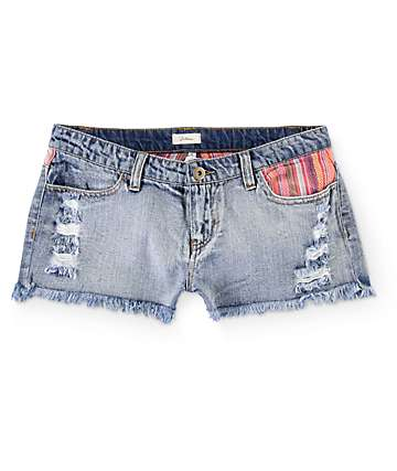 Trillium Guatemalan Stripe Pocket Medium Wash Denim Shorts