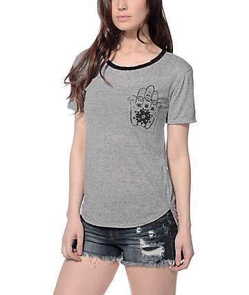 Trillium Hamsa Hand Heather Grey Ringer T-Shirt