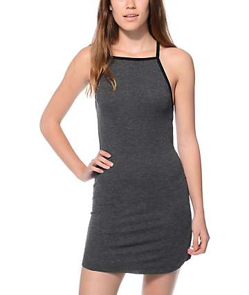 Trillium Hannah Ribbed Knit Charcoal & Black Dress