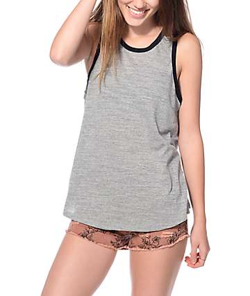 Trillium Heather Grey & Black Ringer Tank Top