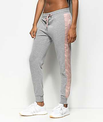 Trillium Heather Grey & Pink Satin Jogger Sweatpants
