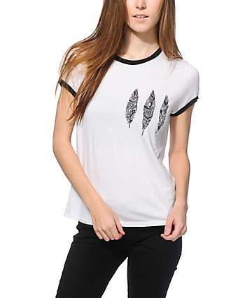 Trillium Helix Three Feathers White & Black Ringer T-Shirt