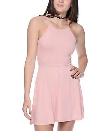 Trillium High Neck Strappy Pink Dress