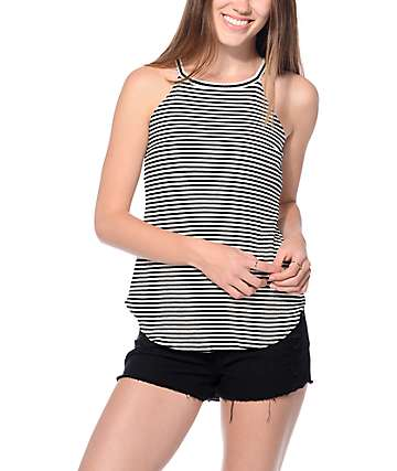 Trillium Jace Black & White Stripe Tank Top