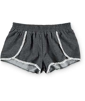 Trillium Jane Grey Tulip & Pom Trim Shorts