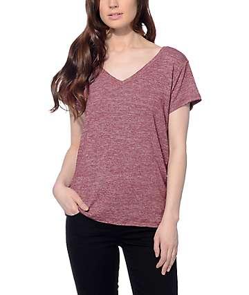 Trillium Jasper Burgundy Hacci V-neck T-Shirt