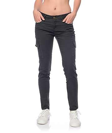 Trillium Jaymie Charcoal Cargo Pocket Skinny Pants
