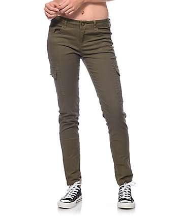 Trillium Jaymie Olive Cargo Pocket Skinny Pants