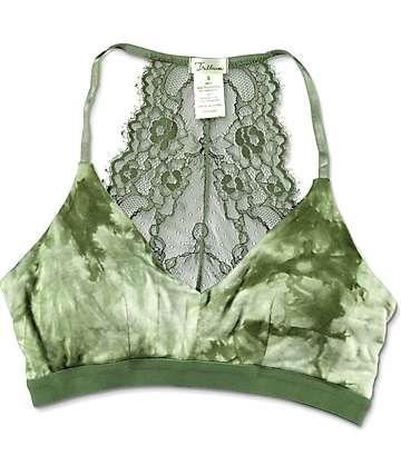 Trillium Kaci Olive Tie Dye Lace Racerback Bralette