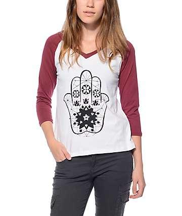 Trillium Katia Hamsa Burgundy V-Neck Baseball T-Shirt