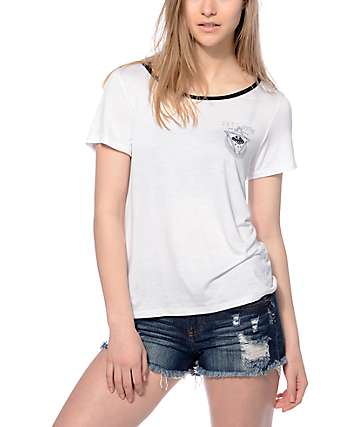 Trillium Kauri Just Visiting White Ringer T-Shirt