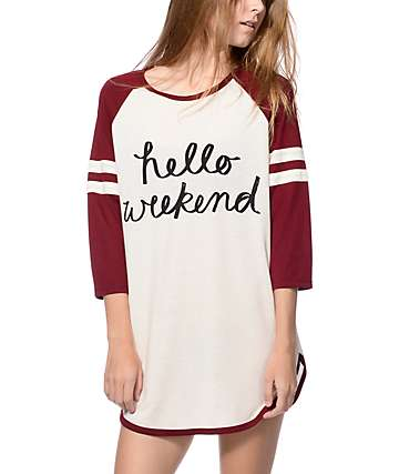 Trillium Kelli Weekend Burgundy & Cream Dorm Shirt