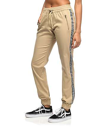 Trillium Khaki Twill Athletic Stripe Jogger Pants