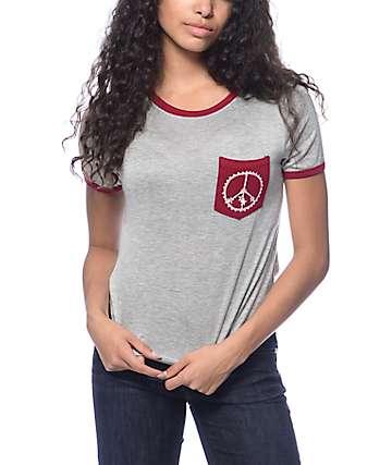 Trillium Kian Henna Peace Grey & Burgundy Ringer T-Shirt