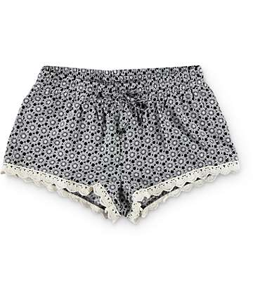 Trillium Kris Black & White Crochet Trim Challis Shorts