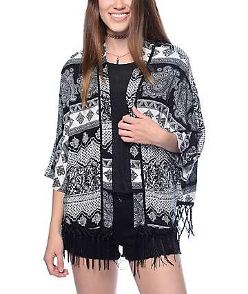 Trillium Lacy Black & White Fringe Kimono