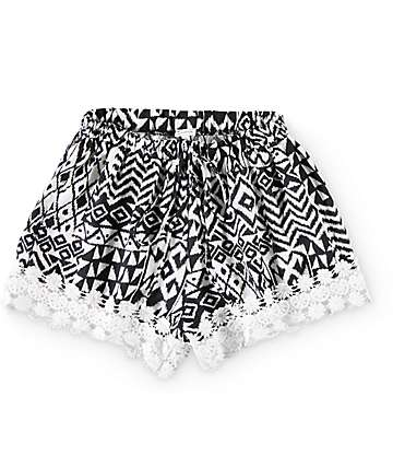 Trillium Lacy Tribal Crochet Trim Shorts