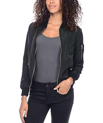 Trillium Lena Black Bomber Jacket