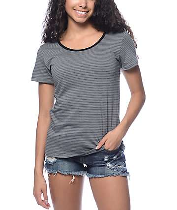 Trillium Leon Grey & Black Stripe Ringer T-Shirt