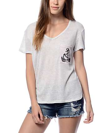 Trillium Liam Anchor Leaf Cream V-Neck T-Shirt