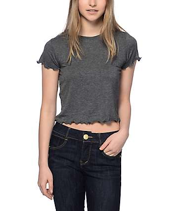 Trillium Lila Lettuce Edge Crop Grey T-Shirt