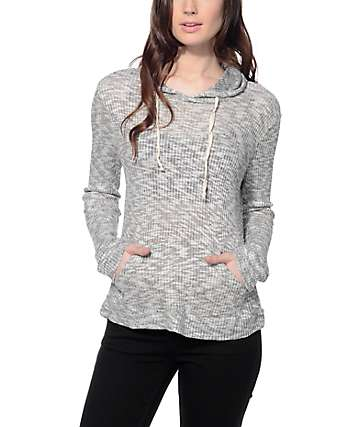 Trillium Logan Grey Textured Ribbed Hoodie