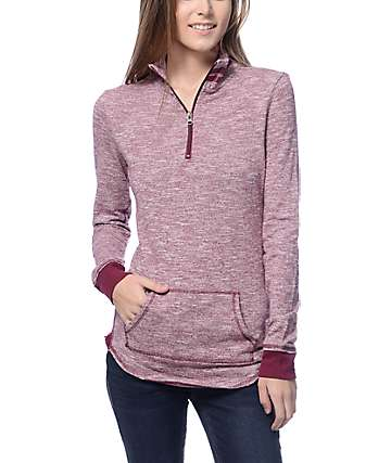 Trillium Luke Burgundy Half Zip Fleece Sweatshirt