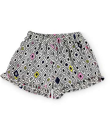 Trillium Macy shorts con volantes impresión geométrico