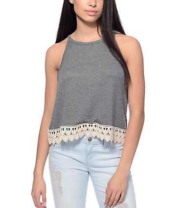 Trillium Madi Charcoal Knit & Cream Trim Tank Top
