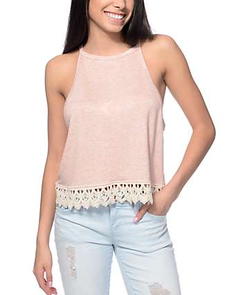 Trillium Madi Pink Knit & Cream Trim Tank Top